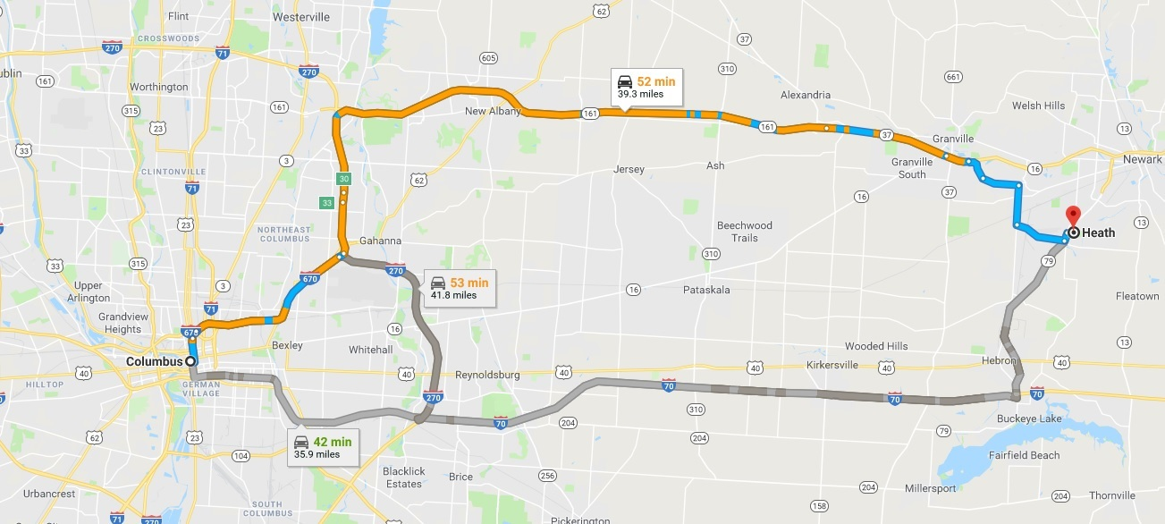 routes to travel from Columbus to Heath